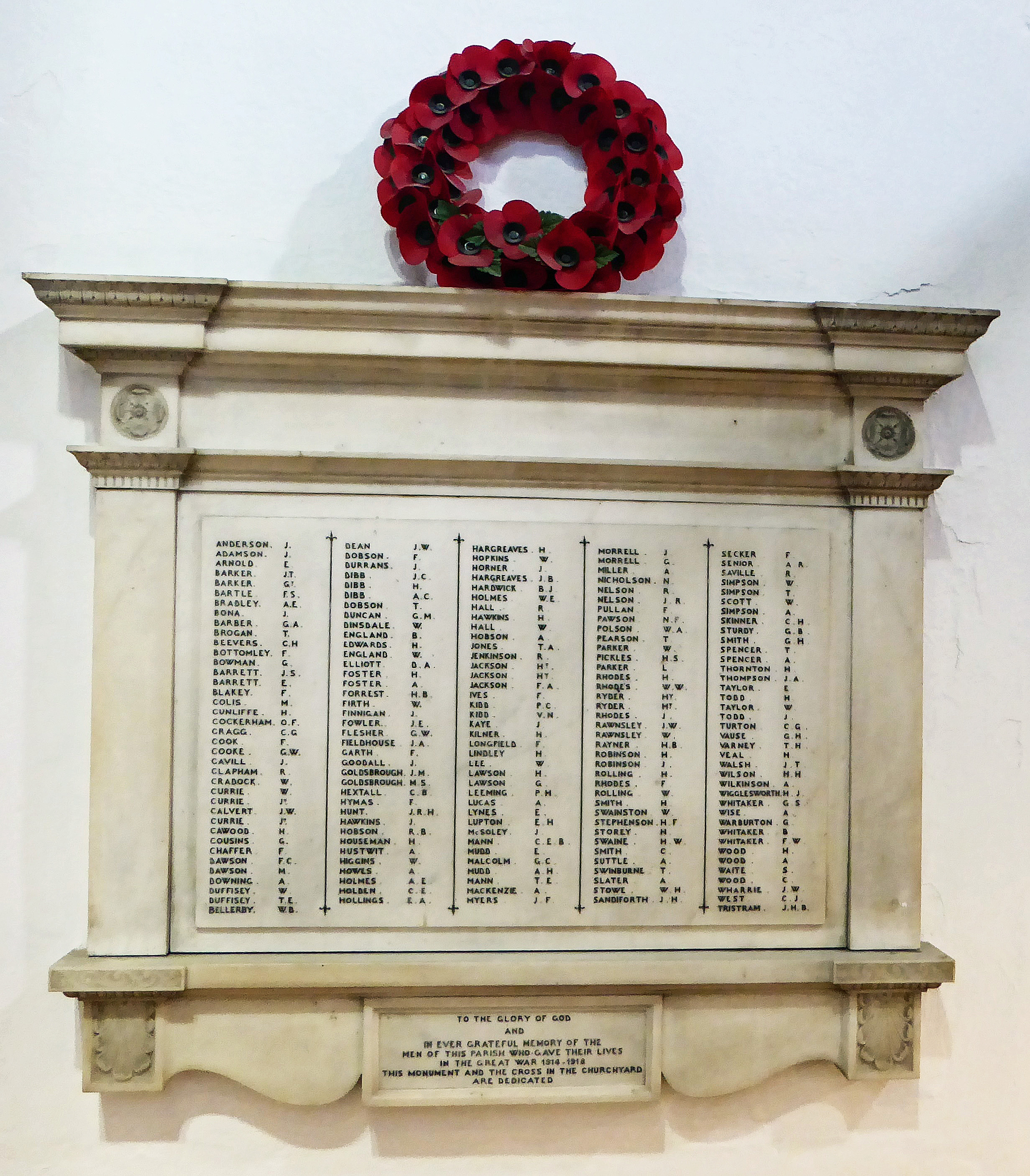 Otley Parish Church 1914-18 War Memorial Lower res